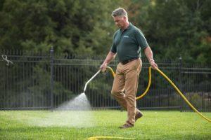 Man spraying lawn